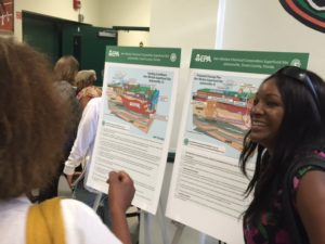 Treena Anderson of the Eastside Environmental Council explains the clean-up plan to a resident. (Photo: Lisa Grubba)